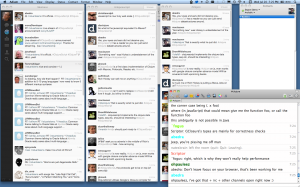 Screenshot of IRC / Twitter during the ClojureScript announcement